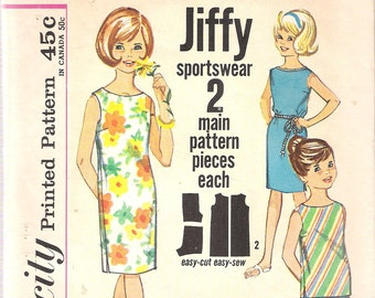Vintage 1960's Simplicity 4965 Girls' Jiffy Beachdress, Top & Shorts Sewing Pattern Size 6 Breast 24""