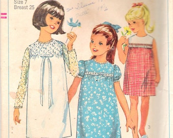 Vintage 1965 Simplicity 6379 Girls' & Chubbies One Piece Dress Sewing Pattern Size 7 Breast 25""