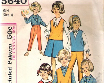 Vintage 1964 Simplicity 5640 Girls' Blouse, Skirt, Top & Pants Sewing Pattern Size 8 Breast 26""
