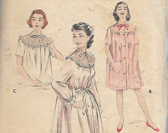 """Vintage 1954 Butterick 6997 Peignoir, Short Nightgown, Bedjacket Sewing Pattern Size 16 Bust 34"""""""