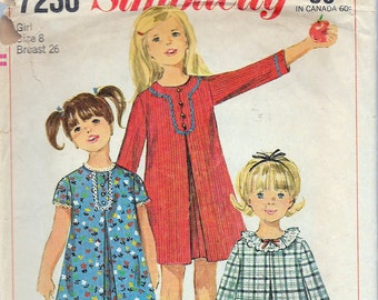 Vintage 1967 Simplicity 7230 Girls' Dress With Detachable Neck & Sleeve Trim Sewing Pattern Size 8 Breast 26""