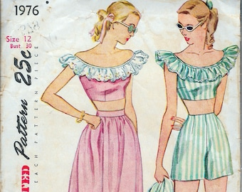 Vintage 1947 Simplicity 1976 Play Suit & Dirndl Skirt Mother and Daughter Fashion Sewing Pattern Size 12 Bust 30""