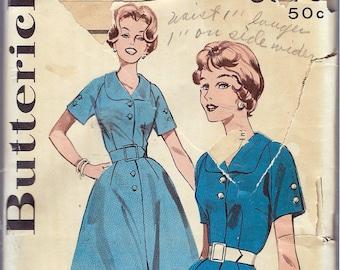 "Vintage 1960 Butterick 9379 Shirt Dress  Full or Slim Skirt Sewing Pattern Size 42 Bust 44"""