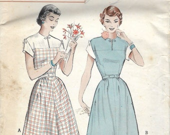 """Vintage 1951 Butterick 5791 Quick & Easy Yoked Casual Dress Sewing Pattern Size 14 Bust 32"""""""