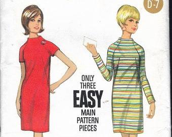 "Vintage 1960's  Butterick 4430 Mod One Piece Dress Sewing Pattern Size 16 Bust 36"" UNCUT"