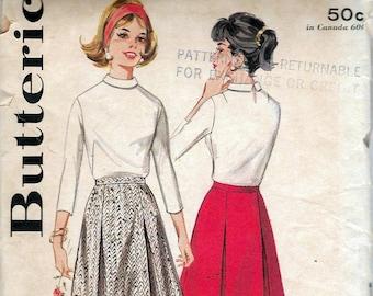 "Vintage 1963 Butterick 3186 Mod Panel Skirt Sewing Pattern Size Waist 26"""
