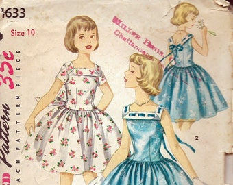 Vintage 1956 Simplicity 1633 Girl's One-Piece Party Dress Sewing Pattern Size 10 Breast 28""