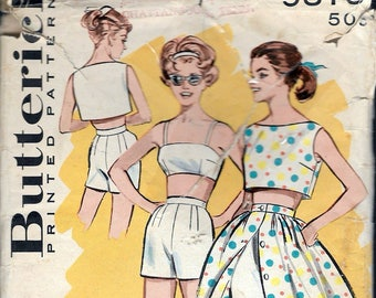 Vintage 1960 Butterick 9375 JR Misses Sportswear Sewing Pattern Size 9 Bust 30 1/2""