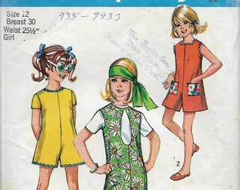 Vintage 1970 Simplicity 8770 Retro Girl's Pandress & Pantjumper With Three Necklines Sewing Pattern Size 12 Breast 30""