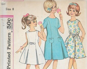 "Vintage 1960's  Simplicity 4922 Girl's One-Piece Dress Sewing Pattern Size 8 Breast 26"" UNCUT"