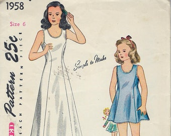 "Vintage 1940's Simplicity 1958 Girls Long & Short Princess Line Slip Sewing Pattern Size 6 Breast 24"" UNCUT"