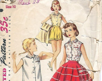Vintage 1955 Simplicity 1146 Girl's Blouse, Skirt & Shorts Sewing Pattern Size 10 Breast 28""