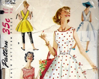 "Vintage 1956 Simplicity 1662 Wrap Around Dress in Two Lengths Sewing Pattern Size 16 Bust 34"" UNCUT"