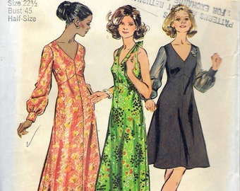 6f52a8741b7 Vintage 1972 Simplicity 5432 Retro Dress In Two Lengths   Halter Dress In  Half Sizes Sewing Pattern Size 22 1 2 Bust 45