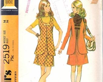 """Vintage 1970 McCall's 2519 Mod Misses Jacket, Skirt & Vest Sewing Pattern Size 14 Bust 36"""""""