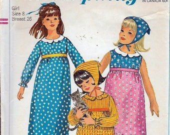 Vintage 1966 Simplicity 6477 Girl's Dress In Two Lengths & Scarf Sewing Pattern Size 8 Breast 26""