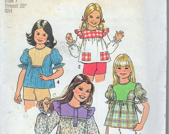 "Vintage 1976 Simplicity 7460 Girl's Retro  Pullover Tops in Two Lengths Sewing Pattern Size 7 Breast 26"" UNCUT"