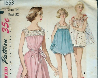 """Vintage 1956 Simplicity 1553 Shortie Nightgown & Panties Sewing Pattern Size 14 Bust 32"""""""