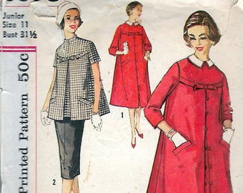 5dcc055bfb4 Vintage 1958 Simplicity 2663 Junior Misses Two Piece   One Piece Maternity  Dress With Detachable Collar Sewing Pattern Size 11 Bust 31 1 2