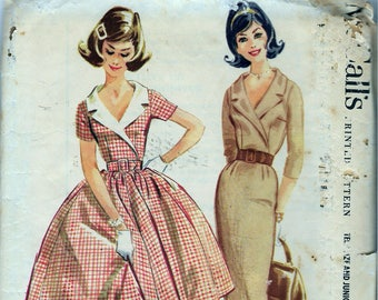 """Vintage 1960 McCall's 5454 Junior Dress Full or Slim Skirt Sewing Pattern Size 13 Bust 33"""""""