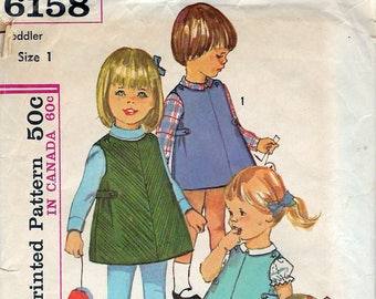 "Vintage 1965 Simplicity 6158 Toddlers' Dress Or Jumper & Blouse Sewing Pattern Size 1 Breast 19"" UNCUT"