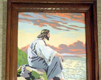 """Vintage Framed Paint by Number Seated Jesus  On Rocks Overlooking Water 14 3/4"""" x 18 3/4"""""""