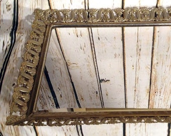 Vintage 1950's Hollywood Regency Rectangular Gold Tone Mirrored Vanity Tray