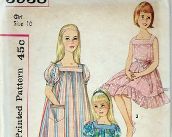 "Vintage 1960's Simplicity 3938 A Mother Daughter Fashion Girl's Muu Muu in Two Lengths & Nightgown Sewing Pattern Size 10 Breast 28"" UNCUT"