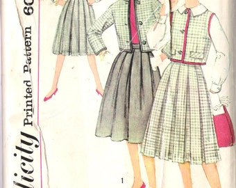 """Vintage 1959 Simplicity 3081 Junior Jacket Skirt and Blouse Sewing Pattern Junior Size 15 Bust 35"""" UNCUT"""