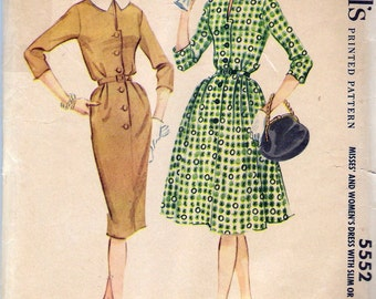"""Vintage 1960 McCall's 5552 Dress with Slim or Full Skirt Sewing Pattern Size 14 Bust 34"""""""