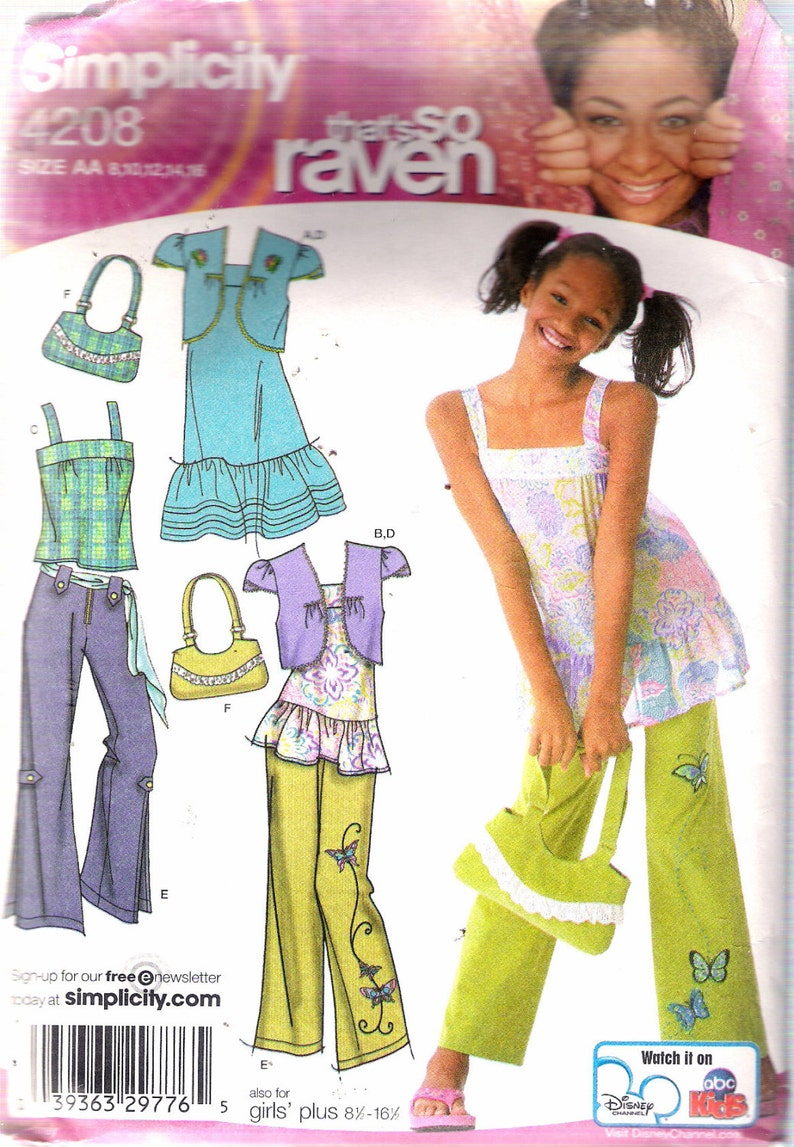 2006 Simplicity 4208 That's So Raven, Girl's Dress, Tunic, Bolero, Pants &  Bag Sewing Pattern Size AA 8 - 16 Chest 27