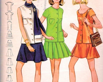 """Vintage 1969 Butterick 5553 Mod Two Piece Dress and Scarf Sewing Pattern Size 7/8 Bust 29"""""""