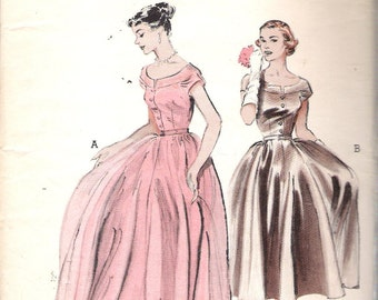 "Vintage 1952 Butterick 6298 Full-Skirted Dress In Formal Or Day Length Sewing Pattern Size 16 Bust 34"" UNCUT"
