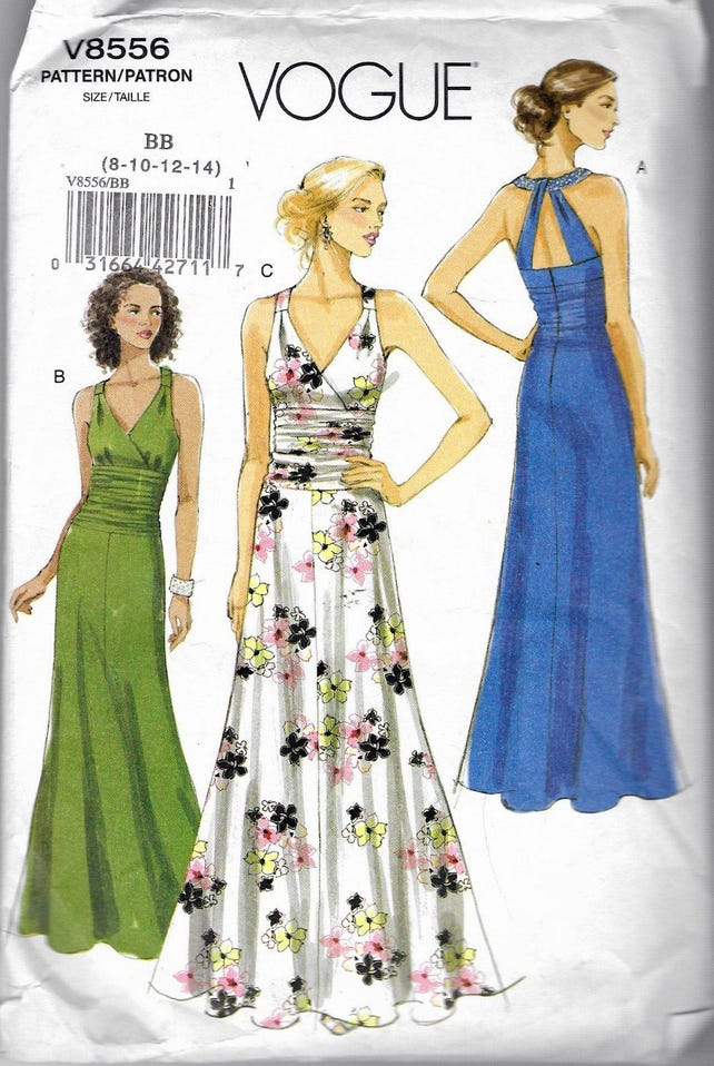 2009 Vogue 8556 Evening Gown Sewing Pattern Size BB 8-10-12-14 | Etsy
