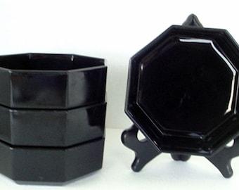 4 Vintage 1970's Made in France  Black Glass Octagon Cereal Soup Bowls
