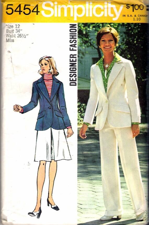 e76379ce8fa Vintage 1972 Simplicity 5454 Designer Fashion Retro Jacket