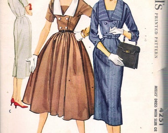 """Vintage 1957 McCall's 4251 Misses' Dress with Slim or Full Skirt Sewing Pattern Size 12 Bust 32"""" UNCUT"""