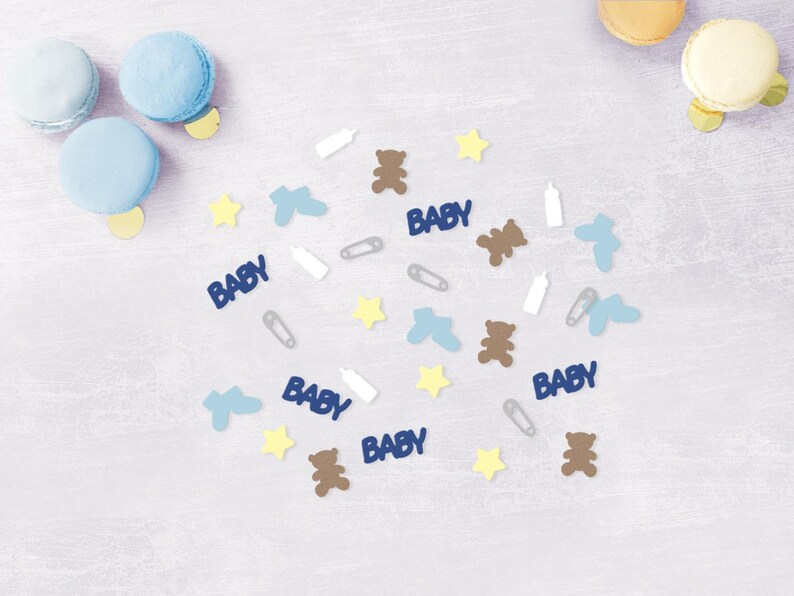 Baby Shower Confetti Baby Boy Gender Reveal and Shower Confetti Baby Confetti w Teddy Bears Diaper Pins Bottles /& Booties