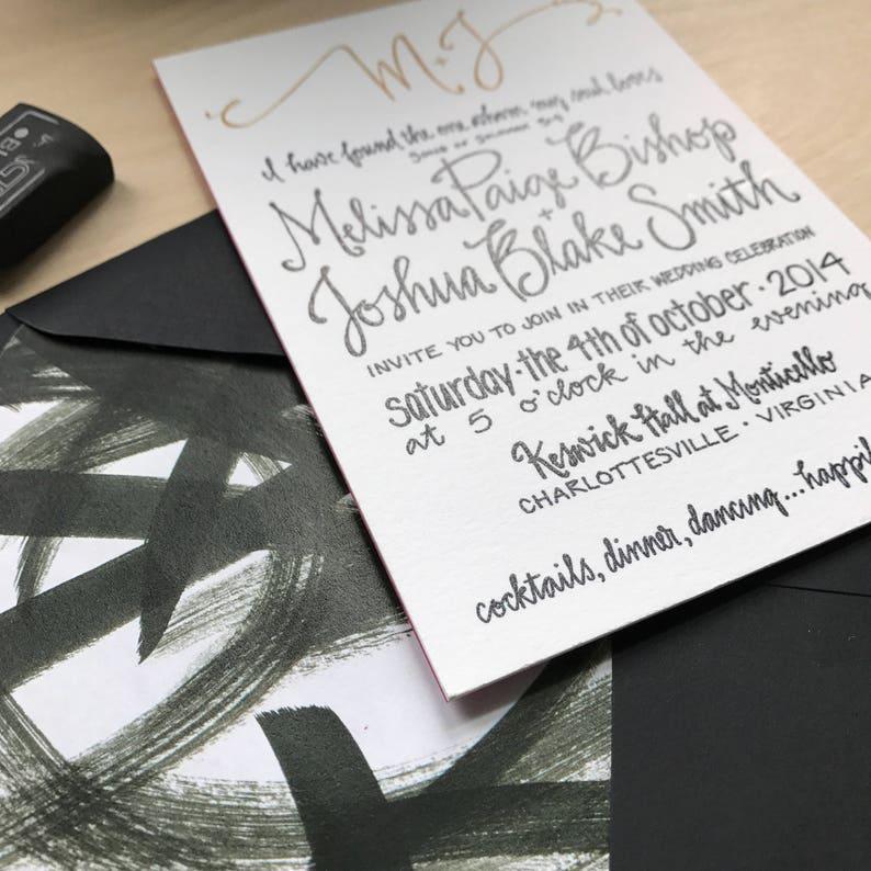 Classic Wedding Invitation Formal Wedding Invite Classic Formal Invitation Black and Gold Wedding Invitation