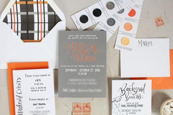 gray and orange bar mitzvah invitation unique bar mitzvah etsy