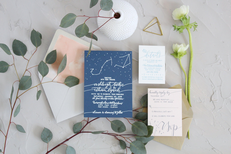 Navy Blush Wedding Invitation Constellation Wedding Etsy
