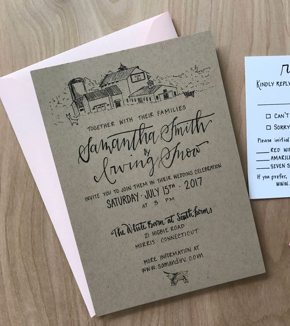 Custom Barn Drawing Wedding Invitations Barn Illustration Etsy