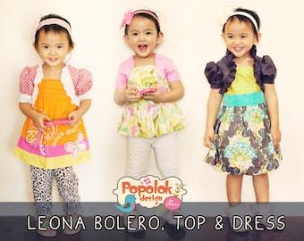LEONA Bolero, Top & Dress PDF Pattern by Popolok Design - 8 Sizes Girl Age 1 to 8