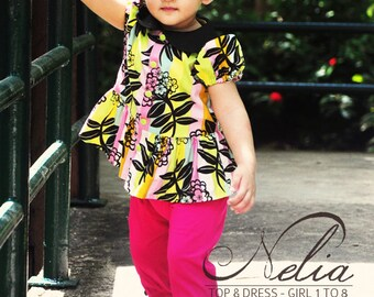 NELIA Top & Dress PDF Pattern by Popolok Design - 8 Sizes Girl Age 1 to 8