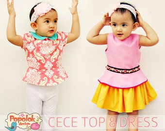 CECE Top & Dress PDF Pattern by Popolok Design - 8 sizes Girl Age 1 to 8