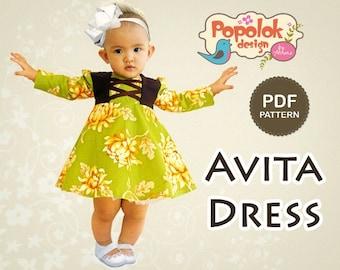 AVITA Dress PDF Pattern & Tutorial - 8 sizes from Age 1 to 8