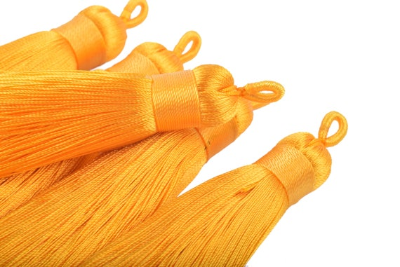 Handmade Imitation Silk Tassels with Threaded Cap and Jade Beads 9.5cm Goldenrod KONMAY 5pcs 3.8