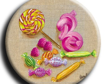 Badge with candy, Lollipop, marshmallows and candy diameter 45 mm