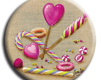Magnet magnet candy, heart lollipop and candy cane No. 12 diameter 45 mm