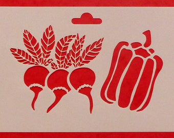 Stencil with vegetables three radishes and peppers